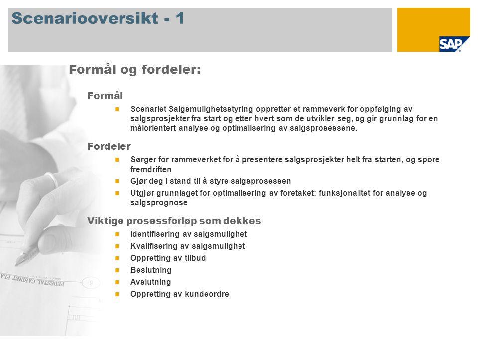 Scenariooversikt - 2 Obligatorisk SAP CRM 7.0 Firmaroller involvert i prosessforløp Salgssjef Selger SAP-applikasjoner som kreves: