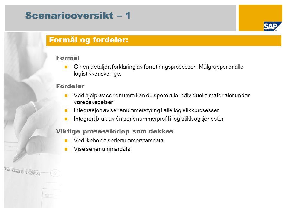Obligatorisk SAP enhancement package 4 for SAP ERP 6.0 Brukerroller involvert i prosessforløp Tjenesteyter SAP-applikasjoner som kreves: Scenariooversikt – 2