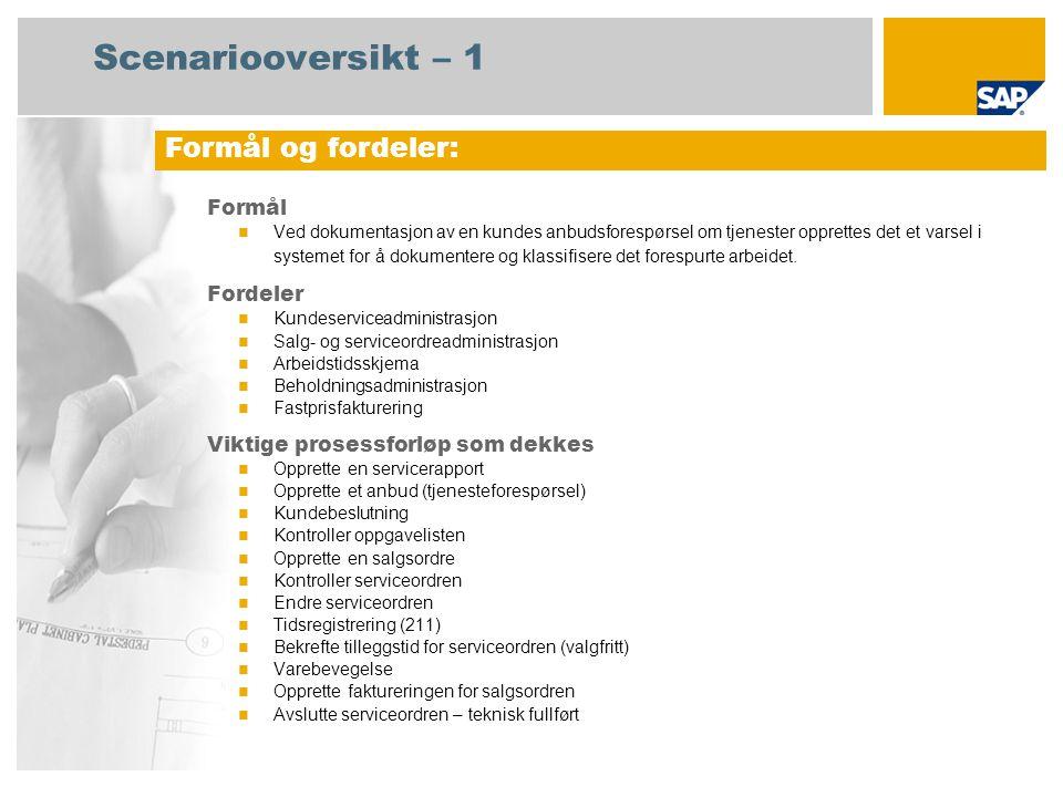 Scenariooversikt – 2 Obligatorisk SAP enhancement package 4 for SAP ERP 6.0 Brukerroller involvert i prosessforløp Tjenesteyter Salgsadministrasjon Servicemedarbeider Salgsfakturering SAP-applikasjoner som kreves:
