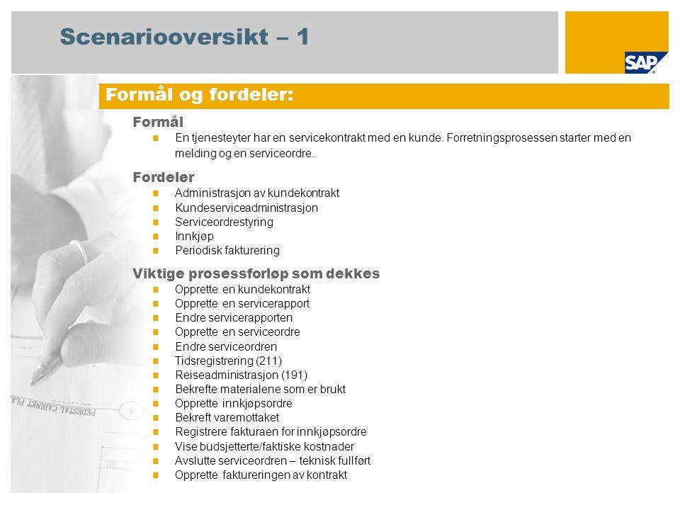 Scenariooversikt – 1 Formål En tjenesteyter har en servicekontrakt med en kunde. Forretningsprosessen starter med en melding og en serviceordre. Forde
