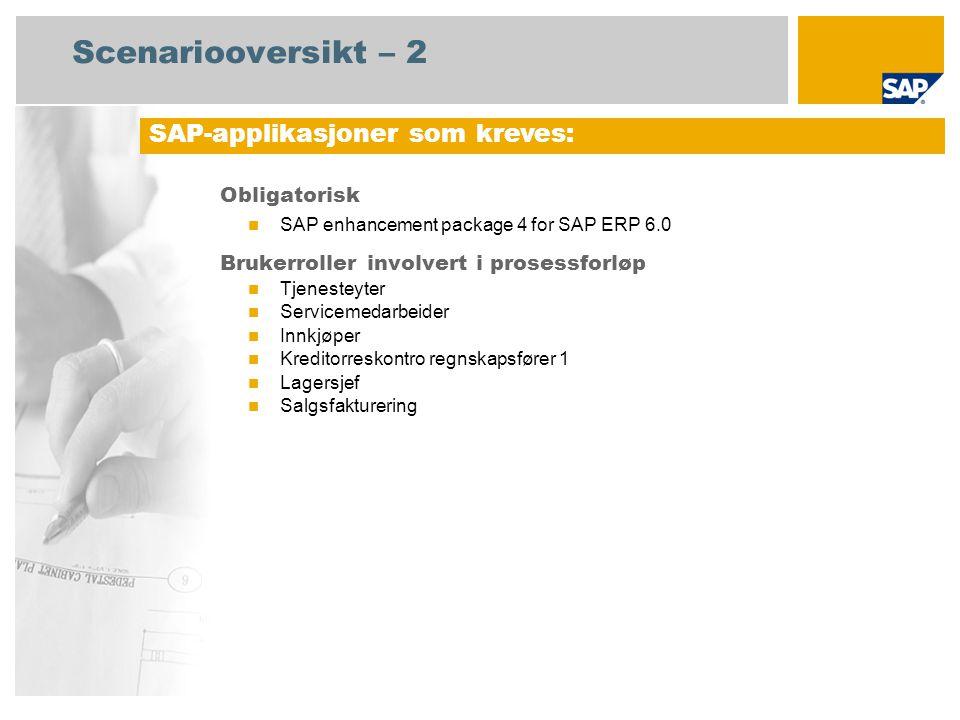 Scenariooversikt – 2 Obligatorisk SAP enhancement package 4 for SAP ERP 6.0 Brukerroller involvert i prosessforløp Tjenesteyter Servicemedarbeider Inn