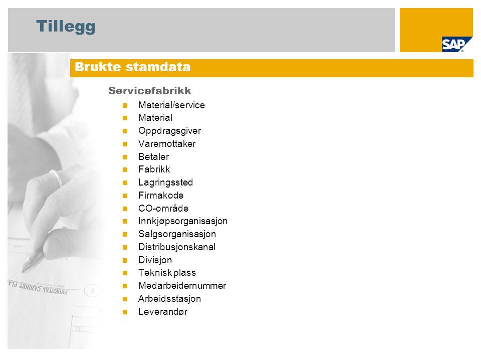 Tillegg Servicefabrikk Material/service Material Oppdragsgiver Varemottaker Betaler Fabrikk Lagringssted Firmakode CO-område Innkjøpsorganisasjon Salg