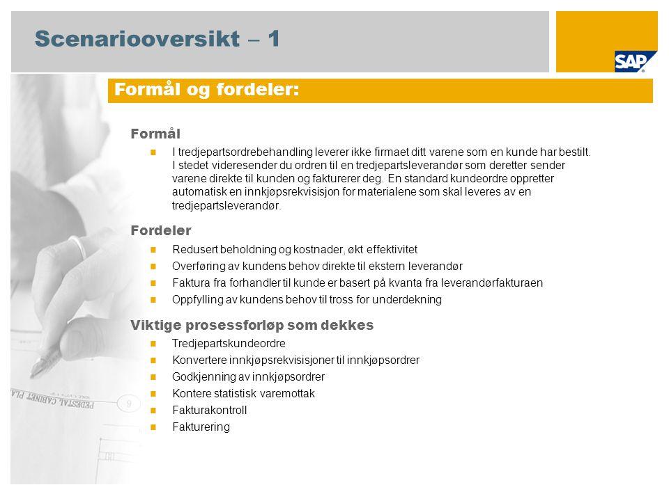 Scenariooversikt – 2 Obligatorisk SAP enhancement package 4 for SAP ERP 6.0 Brukerroller involvert i prosessforløp Salgsadministrasjon Lagersjef Debitorreskontro Innkjøper Innkjøpssjef Salgsfakturering Kreditorreskontro SAP-applikasjoner som kreves: