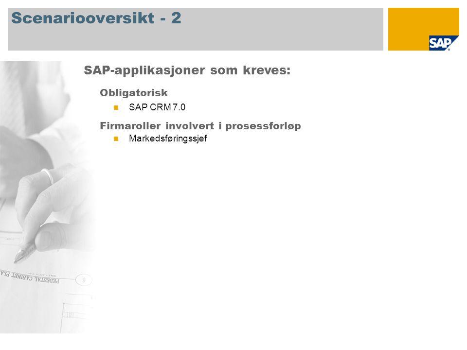 Scenariooversikt - 2 Obligatorisk SAP CRM 7.0 Firmaroller involvert i prosessforløp Markedsføringssjef SAP-applikasjoner som kreves: