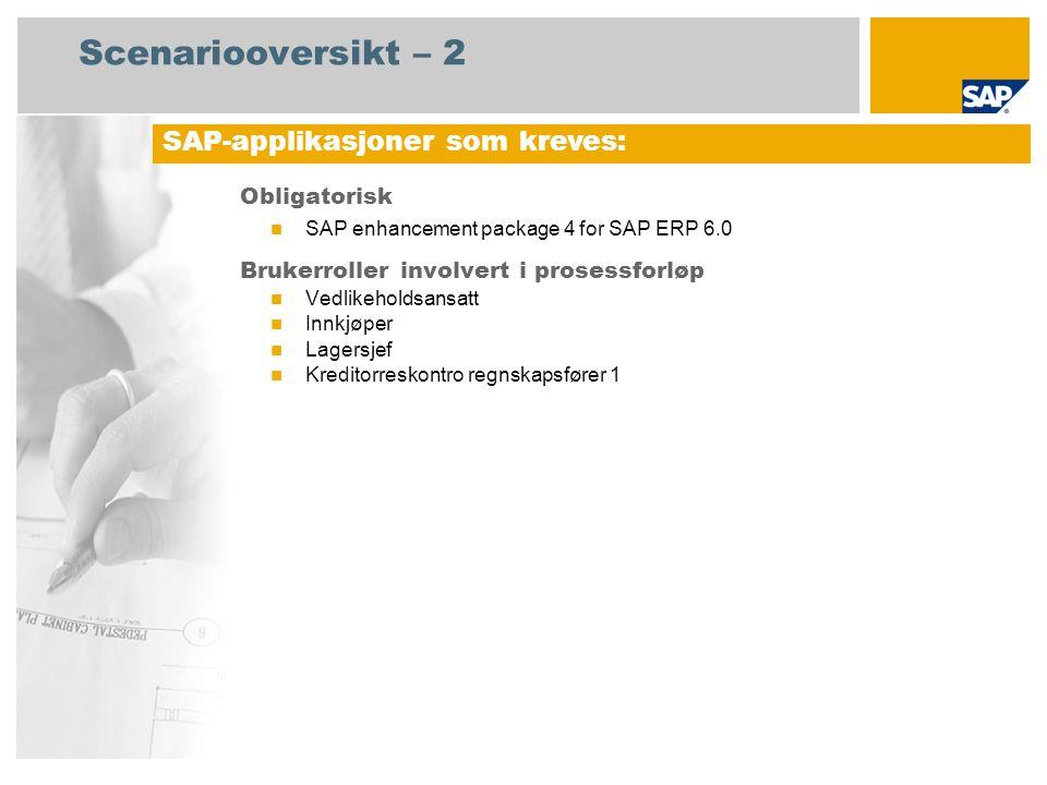 Scenariooversikt – 2 Obligatorisk SAP enhancement package 4 for SAP ERP 6.0 Brukerroller involvert i prosessforløp Vedlikeholdsansatt Innkjøper Lagers