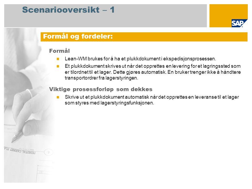 Scenariooversikt – 2 Obligatorisk SAP enhancement package 4 for SAP ERP 6.0 Brukerroller involvert i prosessforløp Lagersjef (NWBC-rolle) SAP-applikasjoner som kreves: