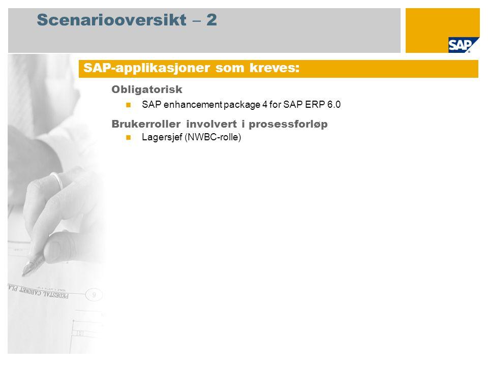 Scenariooversikt – 2 Obligatorisk SAP enhancement package 4 for SAP ERP 6.0 Brukerroller involvert i prosessforløp Lagersjef (NWBC-rolle) SAP-applikas