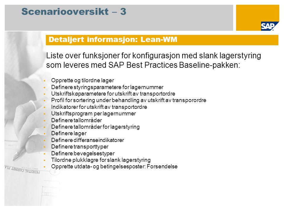 Scenariooversikt – 3 Liste over funksjoner for konfigurasjon med slank lagerstyring som leveres med SAP Best Practices Baseline-pakken: Detaljert info