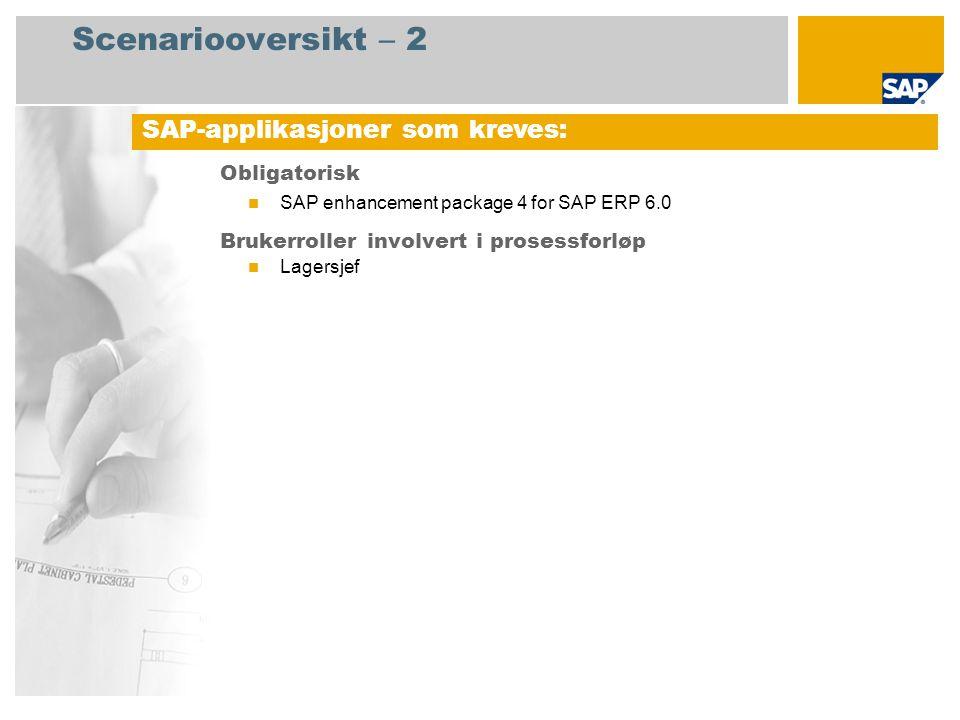 Scenariooversikt – 2 Obligatorisk SAP enhancement package 4 for SAP ERP 6.0 Brukerroller involvert i prosessforløp Lagersjef SAP-applikasjoner som kre