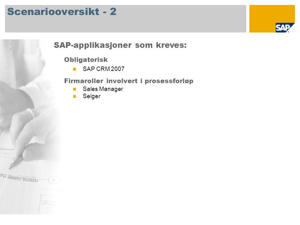 Scenariooversikt - 2 Obligatorisk SAP CRM 2007 Firmaroller involvert i prosessforløp Sales Manager Selger SAP-applikasjoner som kreves: