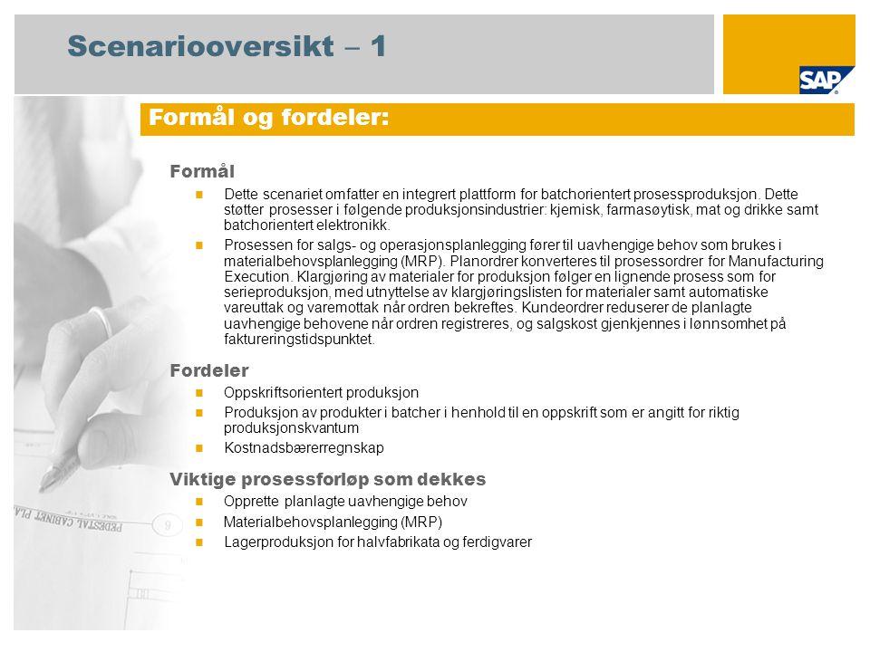 Scenariooversikt – 2 Obligatorisk SAP enhancement package 4 for SAP ERP 6.0 Brukerroller involvert i prosessforløp Produksjonsplanlegger Produksjon Lagersjef Produksjonsspesialist Strategisk planlegger SAP-applikasjoner som kreves: