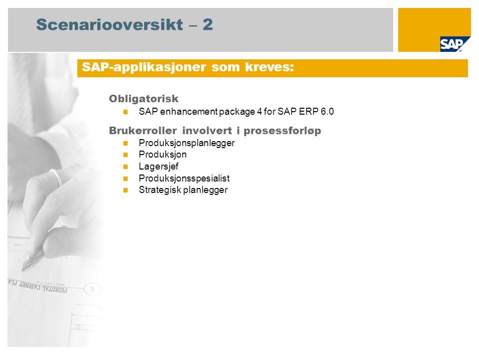 Scenariooversikt – 2 Obligatorisk SAP enhancement package 4 for SAP ERP 6.0 Brukerroller involvert i prosessforløp Produksjonsplanlegger Produksjon La