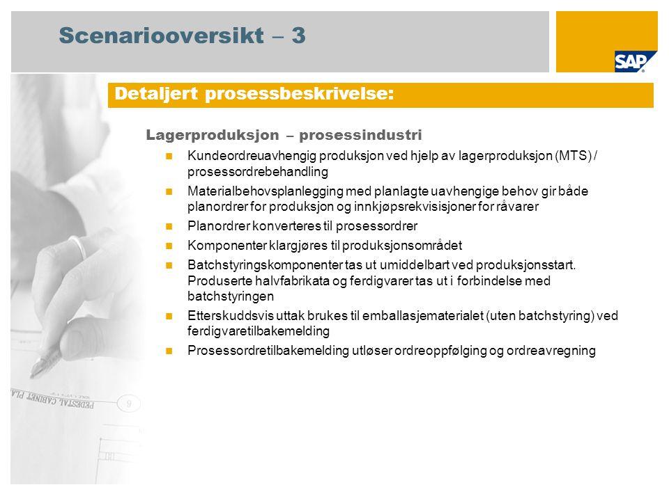 Scenariooversikt – 3 Lagerproduksjon – prosessindustri Kundeordreuavhengig produksjon ved hjelp av lagerproduksjon (MTS) / prosessordrebehandling Mate