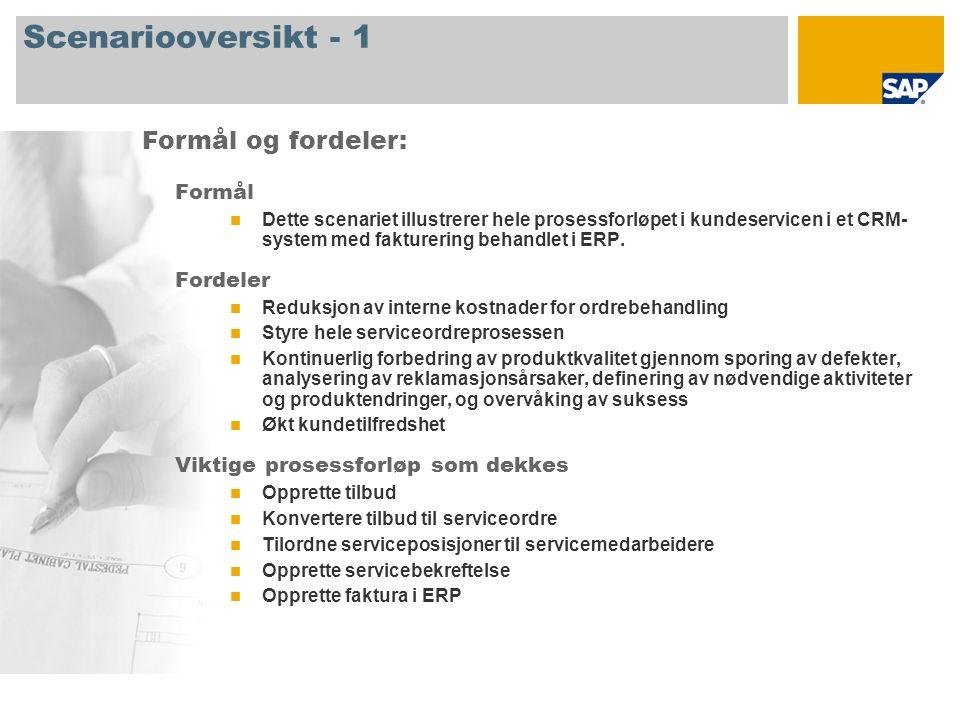 Scenariooversikt - 1 Formål Dette scenariet illustrerer hele prosessforløpet i kundeservicen i et CRM- system med fakturering behandlet i ERP.