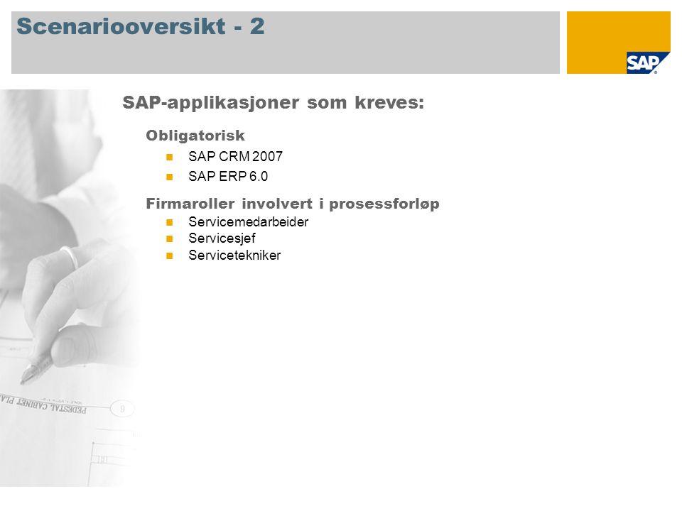 Scenariooversikt - 2 Obligatorisk SAP CRM 2007 SAP ERP 6.0 Firmaroller involvert i prosessforløp Servicemedarbeider Servicesjef Servicetekniker SAP-applikasjoner som kreves: