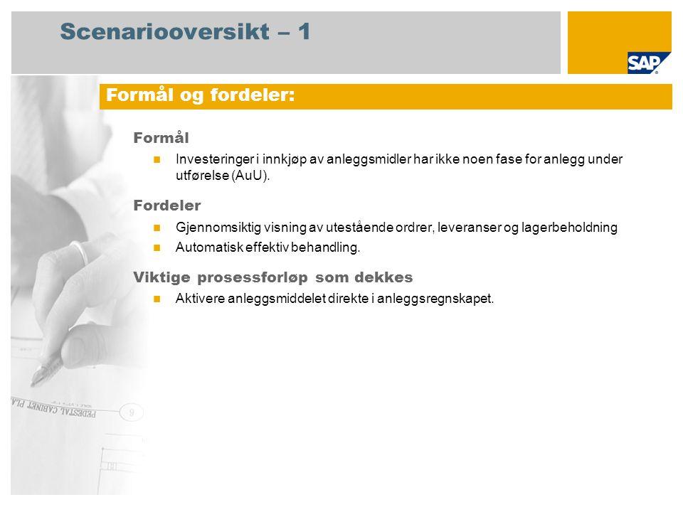Scenariooversikt – 1 Formål Investeringer i innkjøp av anleggsmidler har ikke noen fase for anlegg under utførelse (AuU). Fordeler Gjennomsiktig visni
