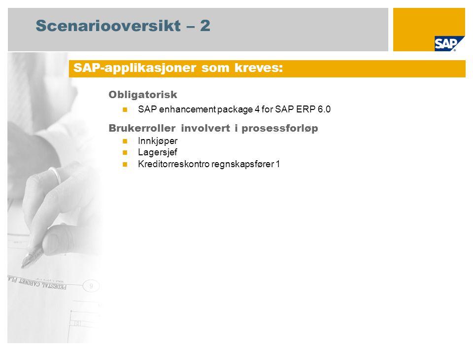 Scenariooversikt – 2 Obligatorisk SAP enhancement package 4 for SAP ERP 6.0 Brukerroller involvert i prosessforløp Innkjøper Lagersjef Kreditorreskont