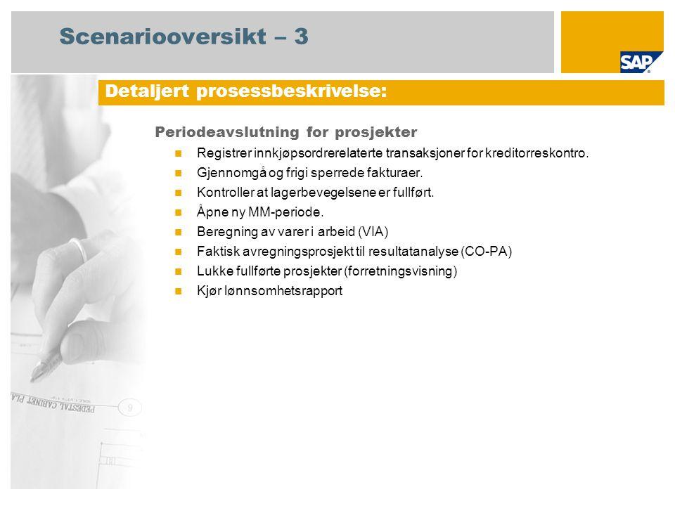 Scenariooversikt – 3 Periodeavslutning for prosjekter Registrer innkjøpsordrerelaterte transaksjoner for kreditorreskontro. Gjennomgå og frigi sperred
