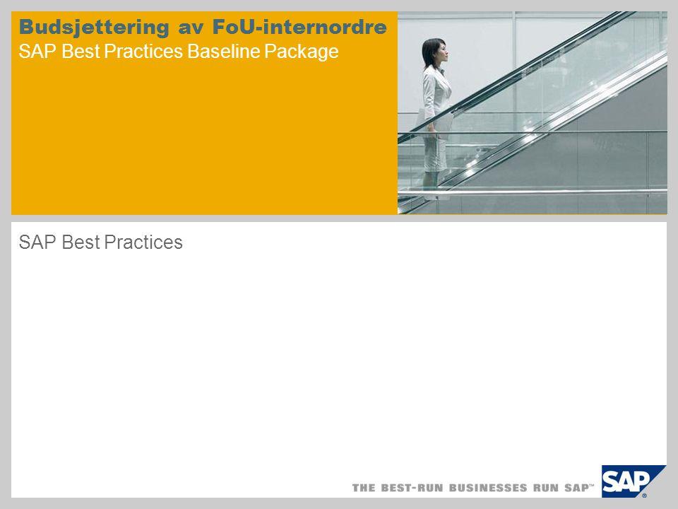 Scenariooversikt – 1 Formål Denne prosessen bruker SAPs internordrefunksjon til å spore kostnader og status.