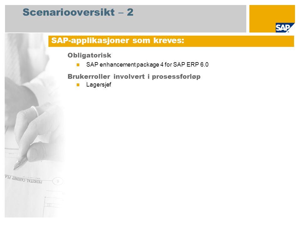 Scenariooversikt – 2 Obligatorisk SAP enhancement package 4 for SAP ERP 6.0 Brukerroller involvert i prosessforløp Lagersjef SAP-applikasjoner som kreves:
