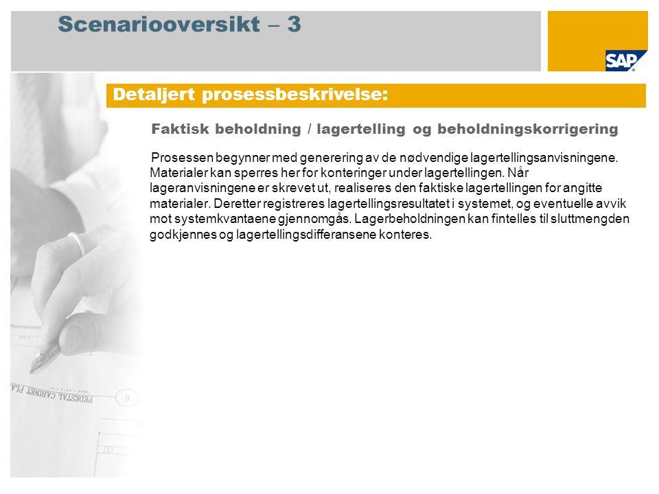 Prosessforløpsdiagram Faktisk beholdning / lagertelling og beholdningskorrigering Lagersjef Fabrikkcontroller Hendelse Lagersjef Godta lagertel -ling.