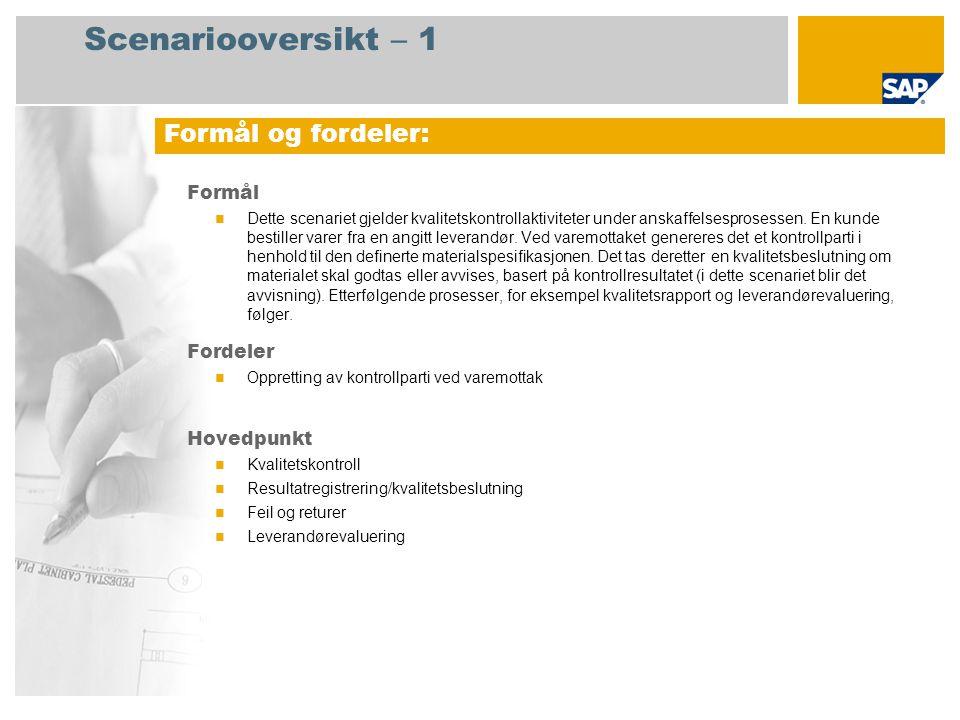 Scenariooversikt – 2 Obligatorisk SAP enhancement package 4 for SAP ERP 6.0 Brukerroller involvert i prosessforløp Lagersjef Kvalitetsspesialist Innkjøpsekspert SAP-applikasjoner som kreves: