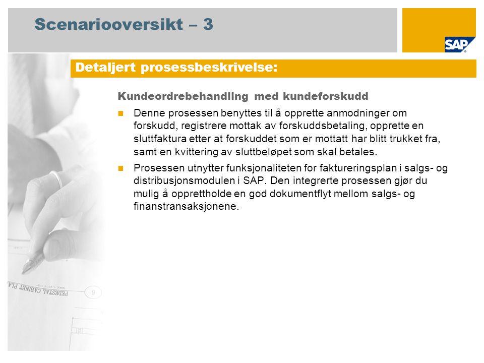 Scenariooversikt – 3 Kundeordrebehandling med kundeforskudd Denne prosessen benyttes til å opprette anmodninger om forskudd, registrere mottak av fors