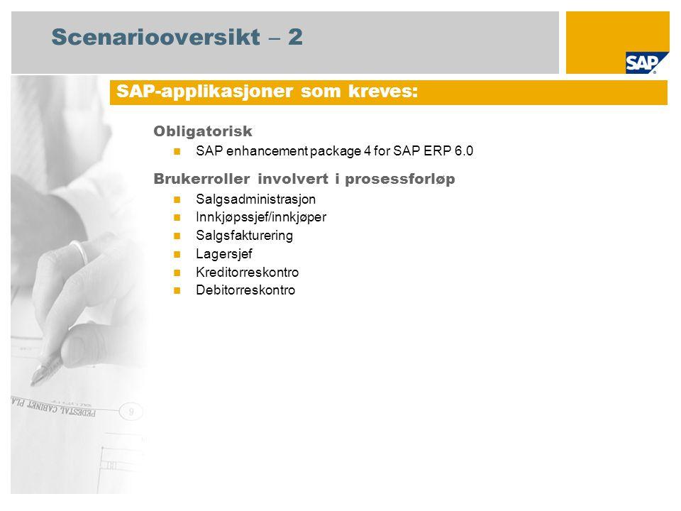 Scenariooversikt – 2 Obligatorisk SAP enhancement package 4 for SAP ERP 6.0 Brukerroller involvert i prosessforløp Salgsadministrasjon Innkjøpssjef/innkjøper Salgsfakturering Lagersjef Kreditorreskontro Debitorreskontro SAP-applikasjoner som kreves: