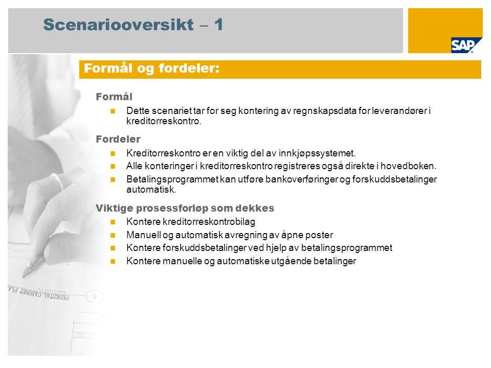 Scenariooversikt – 2 Obligatorisk SAP enhancement package 4 for SAP ERP 6.0 Brukerroller involvert i prosessforløp Regnskapsfører for kreditorreskontro 1 Kreditorreskontro regnskapsfører 2 SAP-applikasjoner som kreves: