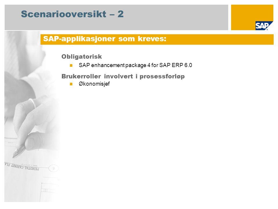 Scenariooversikt – 2 Obligatorisk SAP enhancement package 4 for SAP ERP 6.0 Brukerroller involvert i prosessforløp Økonomisjef SAP-applikasjoner som kreves: