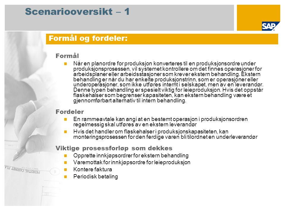 Scenariooversikt – 2 Obligatorisk SAP enhancement package 4 for SAP ERP 6.0 Brukerroller involvert i prosessforløp Lagersjef Innkjøper Kreditorreskontro SAP-applikasjoner som kreves: