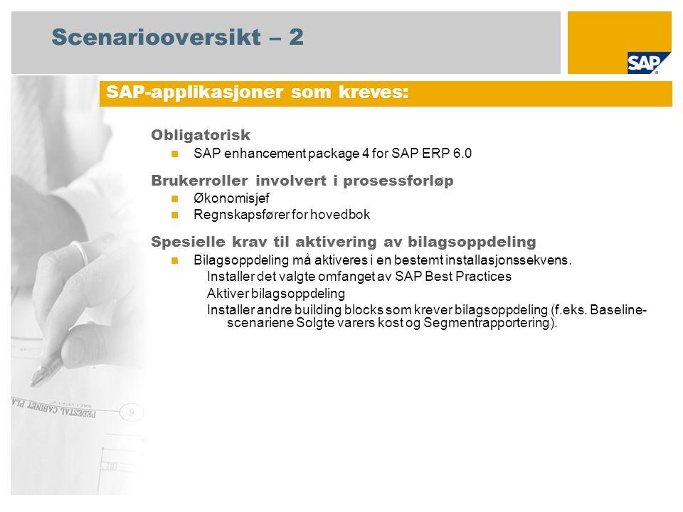 Scenariooversikt – 2 Obligatorisk SAP enhancement package 4 for SAP ERP 6.0 Brukerroller involvert i prosessforløp Økonomisjef Regnskapsfører for hovedbok Spesielle krav til aktivering av bilagsoppdeling Bilagsoppdeling må aktiveres i en bestemt installasjonssekvens.