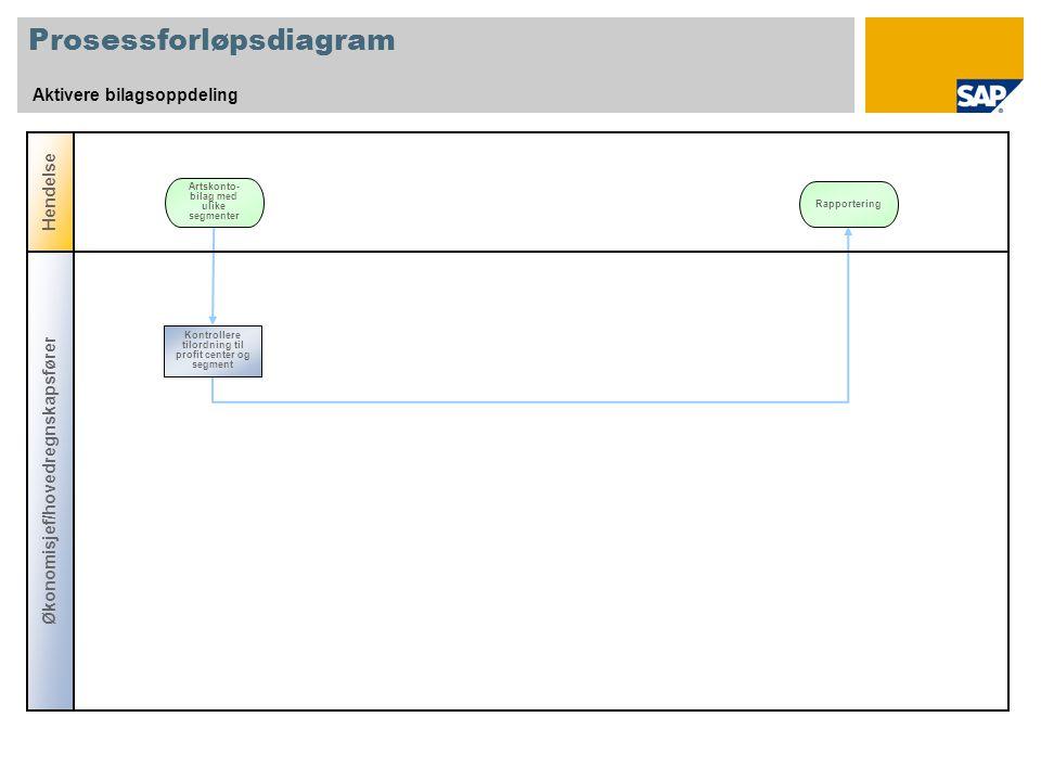 Prosessforløpsdiagram Aktivere bilagsoppdeling Hendelse Artskonto- bilag med ulike segmenter Økonomisjef/hovedregnskapsfører Kontrollere tilordning til profit center og segment Rapportering