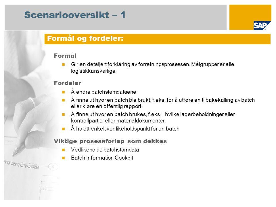 Scenariooversikt – 1 Formål Gir en detaljert forklaring av forretningsprosessen.
