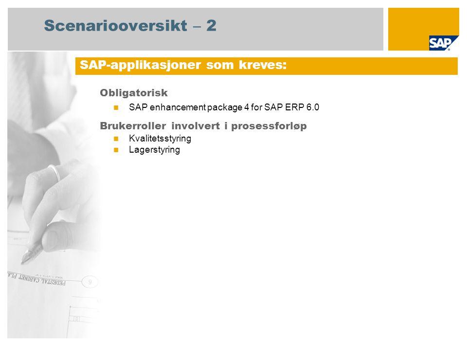 Obligatorisk SAP enhancement package 4 for SAP ERP 6.0 Brukerroller involvert i prosessforløp Kvalitetsstyring Lagerstyring SAP-applikasjoner som kreves: Scenariooversikt – 2