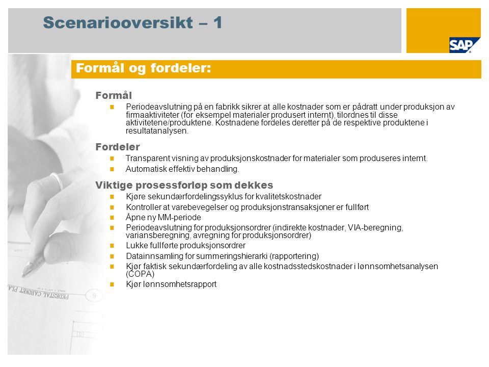 Scenariooversikt – 2 Obligatorisk SAP enhancement package 4 for SAP ERP 6.0 Brukerroller involvert i prosessforløp Lagercontroller Produksjonscontroller Regnskapsfører Fabrikkcontroller Lønnsomhetscontroller SAP-applikasjoner som kreves:
