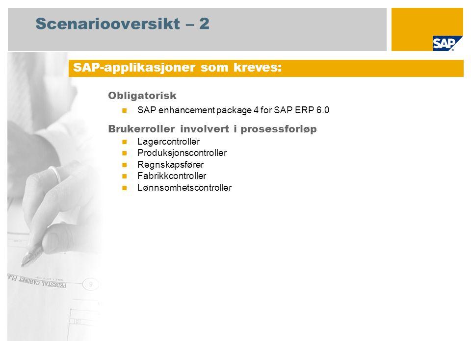 Scenariooversikt – 2 Obligatorisk SAP enhancement package 4 for SAP ERP 6.0 Brukerroller involvert i prosessforløp Lagercontroller Produksjonscontroll