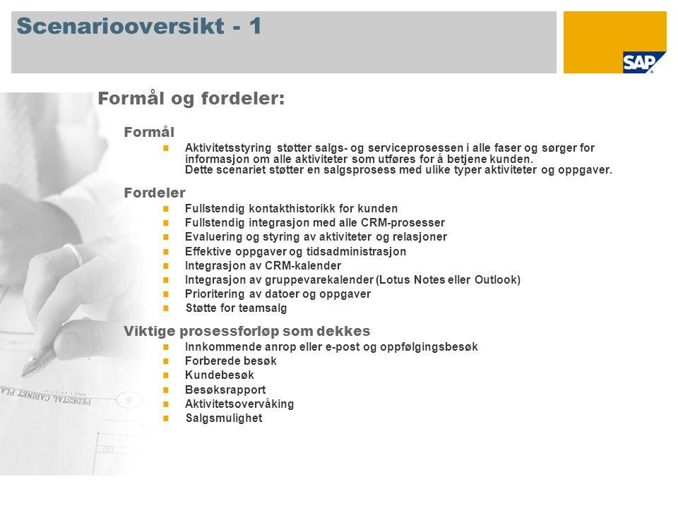 Scenariooversikt - 1 Formål Aktivitetsstyring støtter salgs- og serviceprosessen i alle faser og sørger for informasjon om alle aktiviteter som utføres for å betjene kunden.
