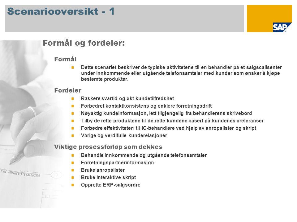Scenariooversikt - 2 Obligatorisk SAP CRM 2007 Firmaroller involvert i prosessforløp Interaction Center Agent-salg Interaction Center Manager SAP-applikasjoner som kreves: