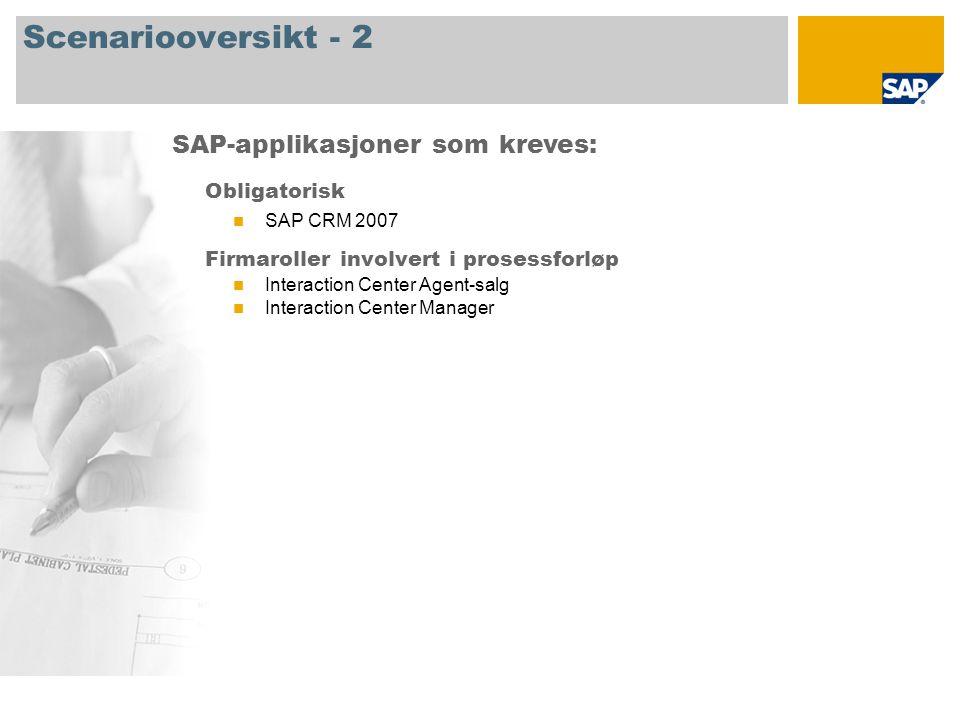 Scenariooversikt - 2 Obligatorisk SAP CRM 2007 Firmaroller involvert i prosessforløp Interaction Center Agent-salg Interaction Center Manager SAP-appl