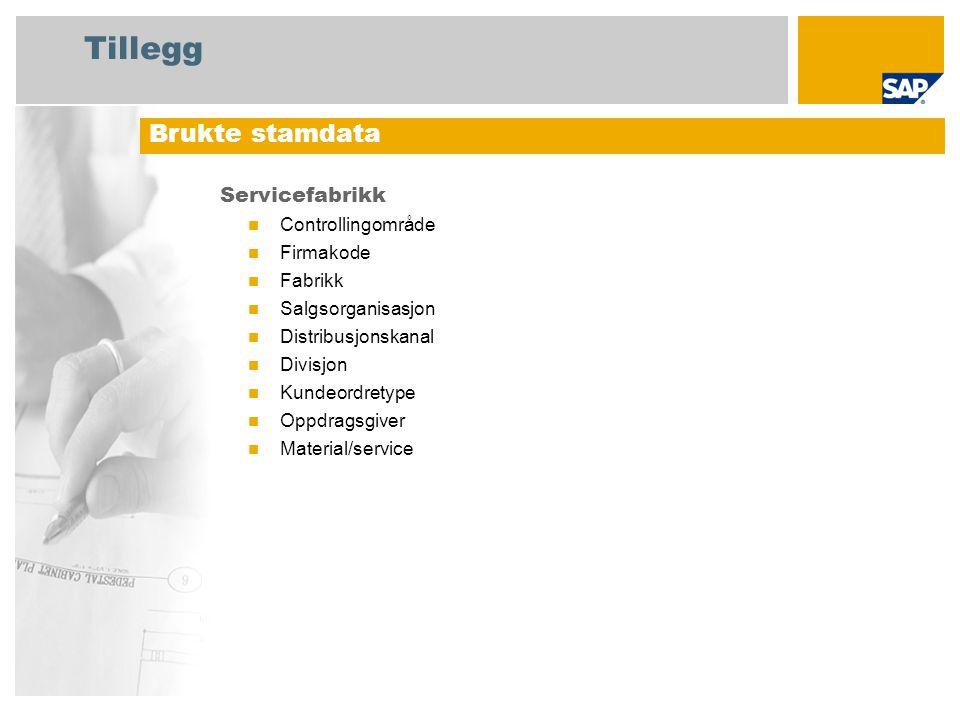 Tillegg Servicefabrikk Controllingområde Firmakode Fabrikk Salgsorganisasjon Distribusjonskanal Divisjon Kundeordretype Oppdragsgiver Material/service