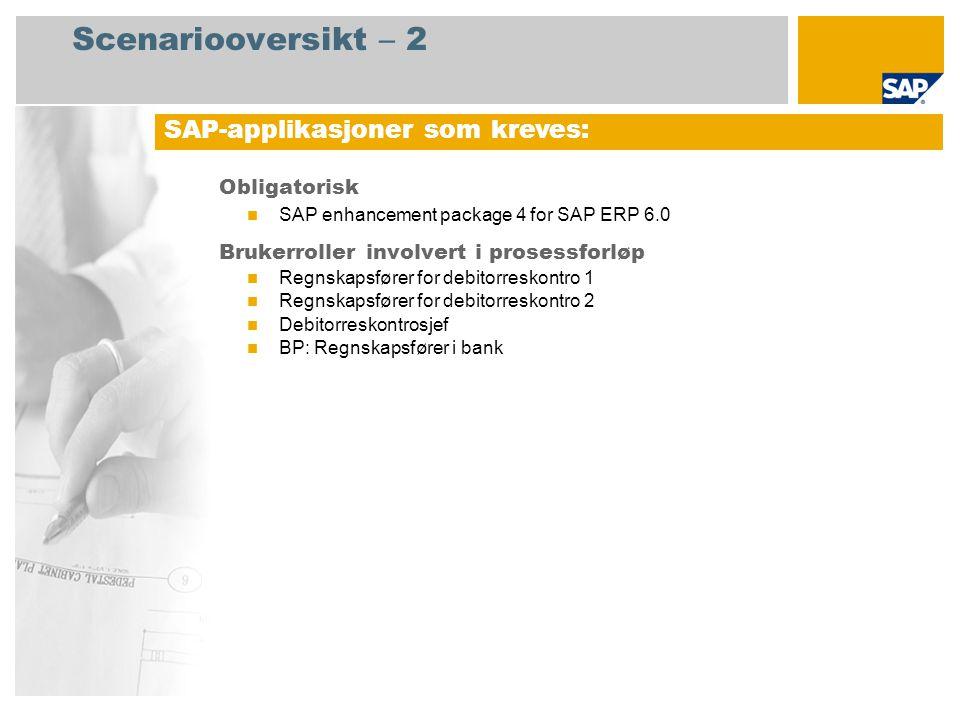 Scenariooversikt – 2 Obligatorisk SAP enhancement package 4 for SAP ERP 6.0 Brukerroller involvert i prosessforløp Regnskapsfører for debitorreskontro 1 Regnskapsfører for debitorreskontro 2 Debitorreskontrosjef BP: Regnskapsfører i bank SAP-applikasjoner som kreves: