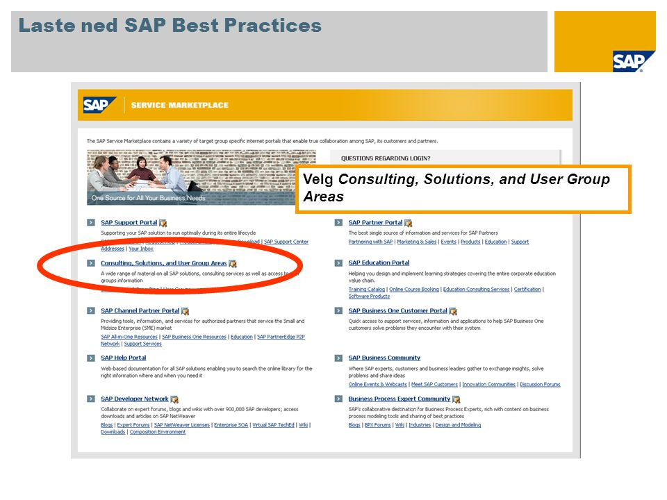 Velg Consulting, Solutions, and User Group Areas Laste ned SAP Best Practices