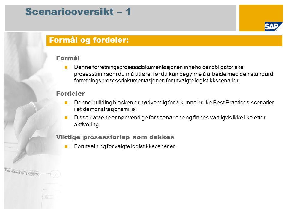 Scenariooversikt – 2 Obligatorisk SAP enhancement package 4 for SAP ERP 6.0 Brukerroller involvert i prosessforløp Økonomisjef Produktkostnadscontroller Produksjonsplanlegger Konstruksjonsspesialist Anleggsregnskapsfører SAP-applikasjoner som kreves: