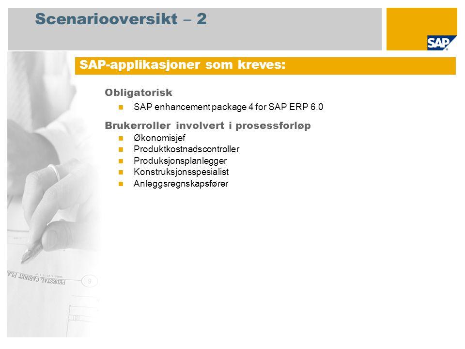 Scenariooversikt – 2 Obligatorisk SAP enhancement package 4 for SAP ERP 6.0 Brukerroller involvert i prosessforløp Økonomisjef Produktkostnadscontroll