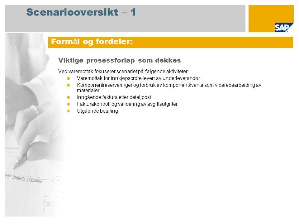 Scenariooversikt – 2 Obligatorisk SAP enhancement package 4 for SAP ERP 6.0 Brukerroller involvert i prosessforløp Innkjøper Innkjøpssjef Lagersjef Regnskapsfører for kreditorreskontro SAP-applikasjoner som kreves: