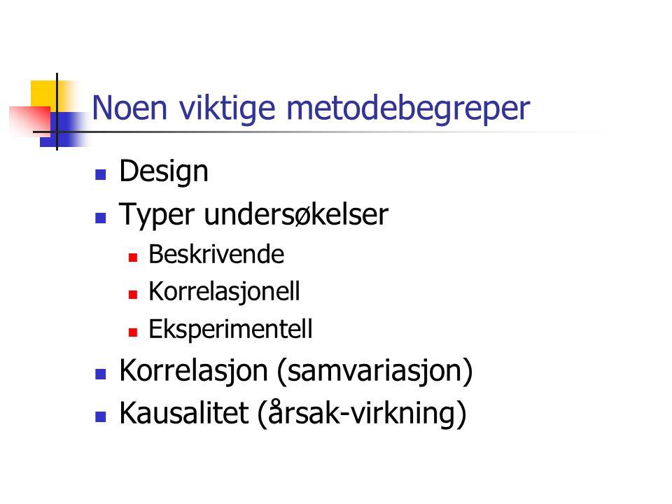 Noen viktige metodebegreper Design Typer undersøkelser Beskrivende Korrelasjonell Eksperimentell Korrelasjon (samvariasjon) Kausalitet (årsak-virkning