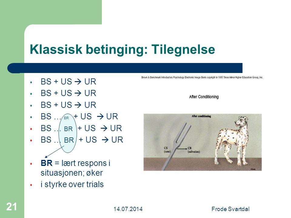 14.07.2014Frode Svartdal 21 Klassisk betinging: Tilegnelse s BS + US  UR s BS … BR + US  UR s BR = lært respons i situasjonen; øker s i styrke over trials