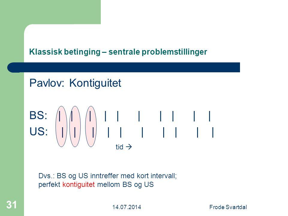 14.07.2014Frode Svartdal 31 Klassisk betinging – sentrale problemstillinger Pavlov: Kontiguitet BS: | | | | | | | | | | US: | | | | | | | | | | tid  Dvs.: BS og US inntreffer med kort intervall; perfekt kontiguitet mellom BS og US