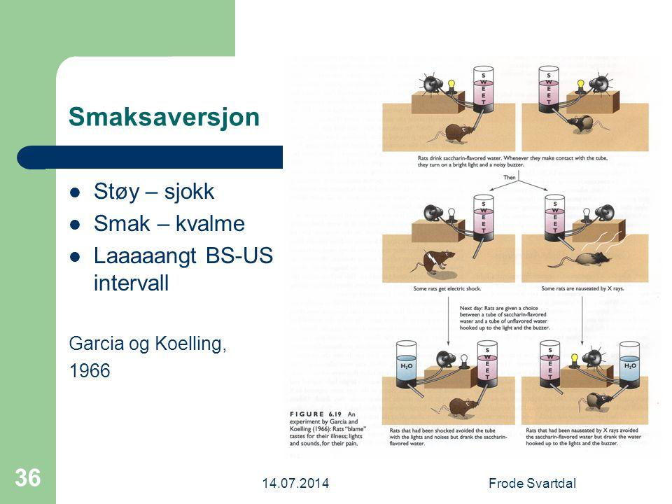 14.07.2014Frode Svartdal 36 Smaksaversjon Støy – sjokk Smak – kvalme Laaaaangt BS-US intervall Garcia og Koelling, 1966